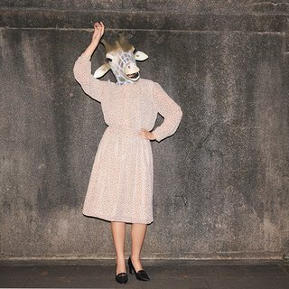 {::: Giraffe giraffe people :::} _ small tulip chest pleated long-sleeved vintage dress