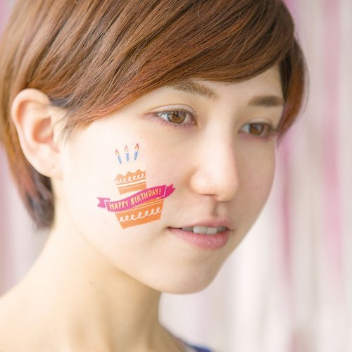 Iroha - Birthday Tattoo Sticker - Cake