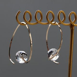 14kgf-twist hoop crystal pierced earrings