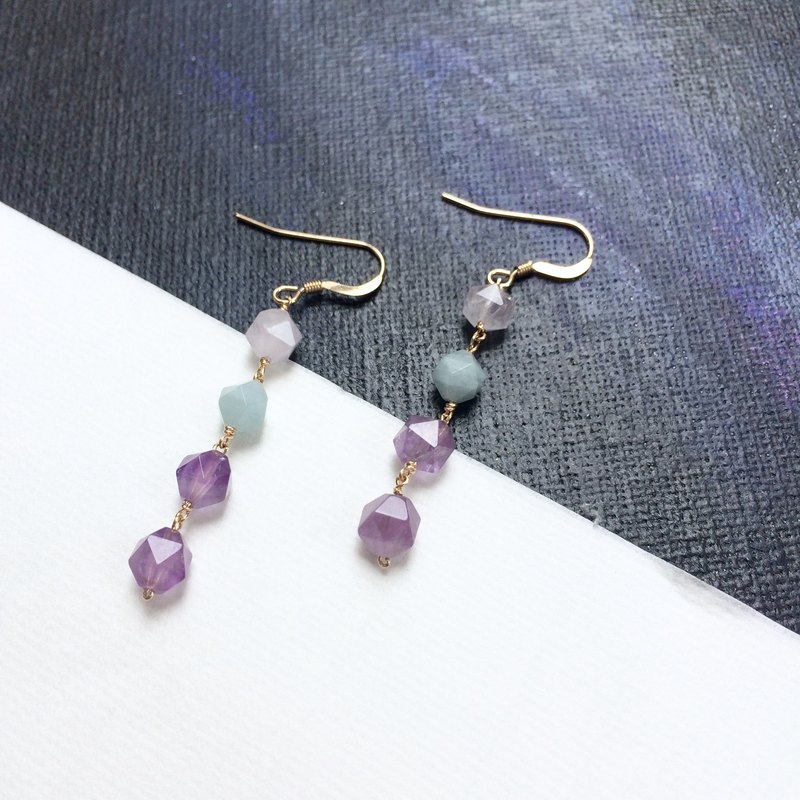 Polygonal three-color crystal earrings-14kgf (can change ear clip) dreamy colors