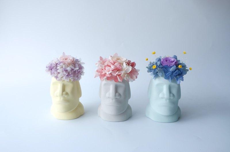 【摩艾巨人】 灰色/藍色/黃色/不凋花/永生花/乾燥花/盆栽