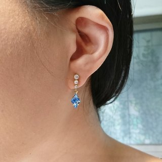 Diamond Zircon Earrings (Blue)