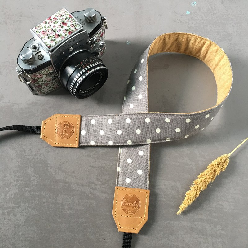Gray Polkadot Mirrorless or DSLR Camera Strap
