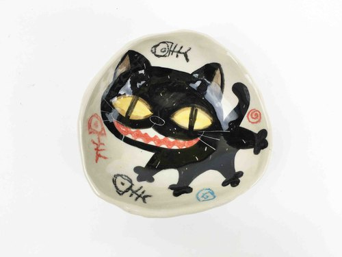 Nice Little Clay hand-painted small dishes _ smiling black 0304-06