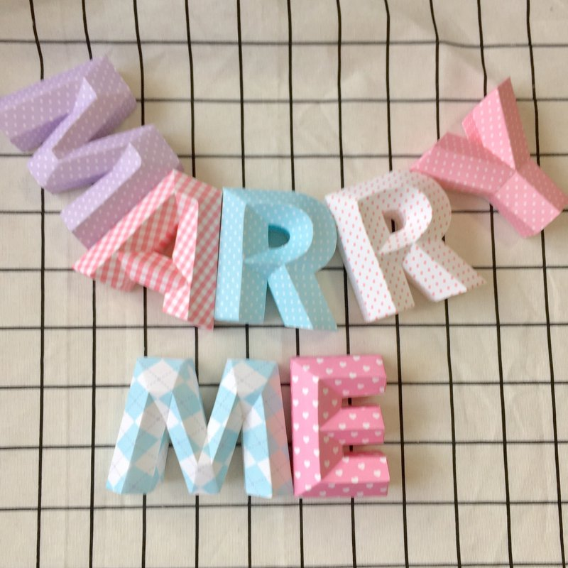 Wedding arrangement / wedding props / MARRY ME / three-dimensional characters / purple pink purple series