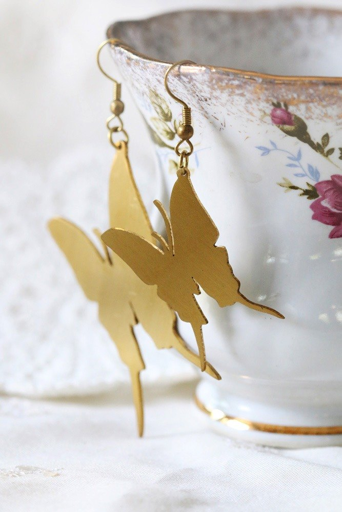 Golden Brass Flat Butterfly Earrings / Linen Jewelry / Everyday Jewelry / Butterfly Earrings