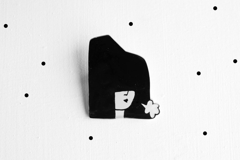 Miss Hairy Collection / Black and White Brooch/ #H010