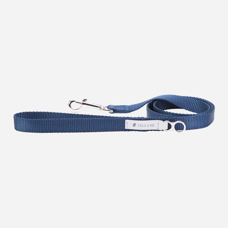 [tail and me] classic nylon belt leash dark blue M