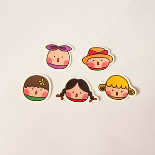 Round little girl stickers