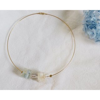 Original water blue hydrangea square collar / neck chain choker