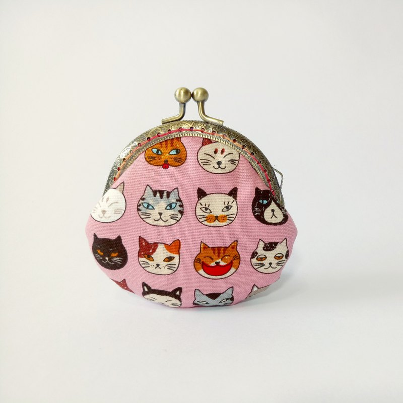 1987 Handmades 【Cats flowers - pink mouth purse bag purse