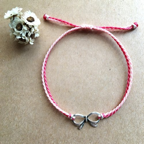 Bow Double Line Fine Bracelet / Simple / Brazilian Wax Line Sterling Silver Braided Bracelet