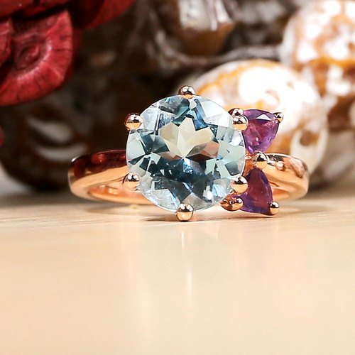 MISS LUNA - 10mm Blue Topaz with  Amethyst 18K Rose Gold Plated Silver Ring