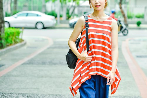 Mu Xin: Umbrella Swing Sleeveless Striped Vest