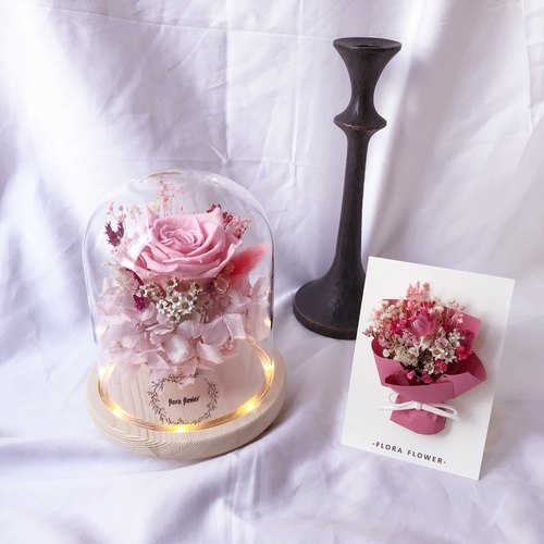 Girls are eternal pink rose night light card gift box group / wedding small things / eternal flower / birthday gift