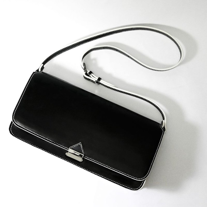 Black leather Prisma Shoulder Bag / Clutch