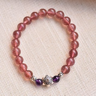 Strawberry Crystal* Amethyst Sterling Silver Flower Bracelet