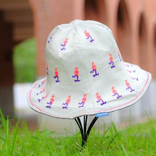 [Little villain series - personality street skateboarder] double-sided flower fisherman hat
