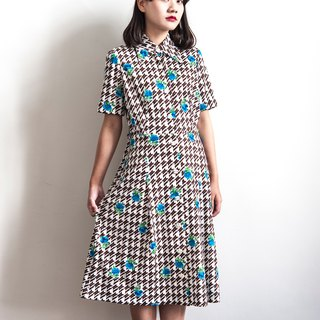 Vintage blue flowers Houndstooth short-sleeved vintage dress