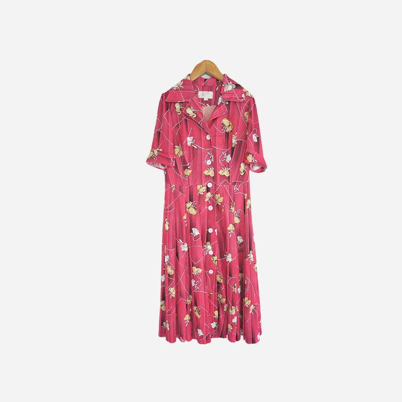 Dislocation vintage / pink flower line dress no.712 vintage