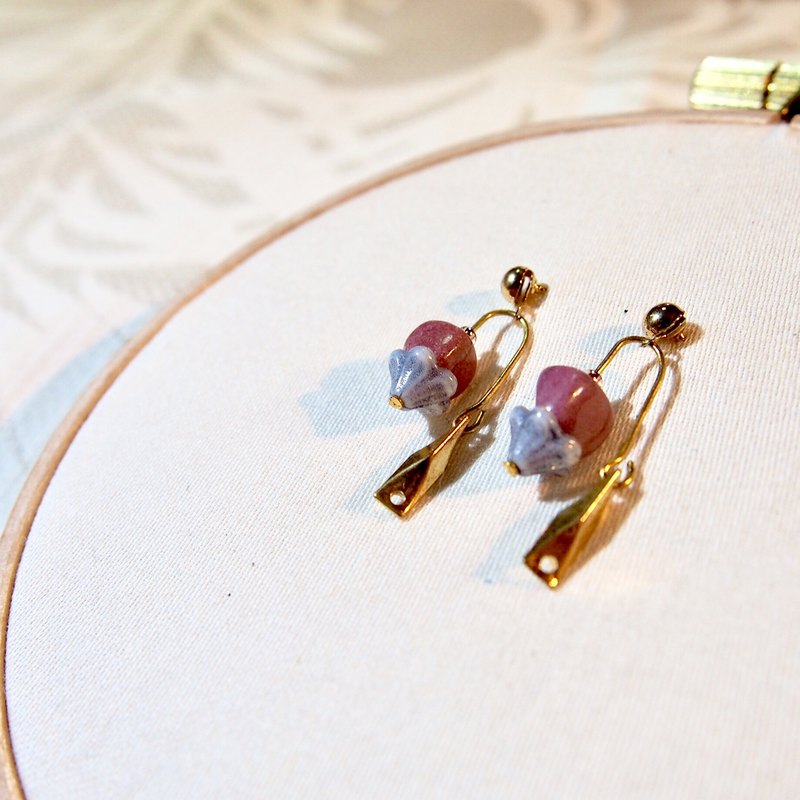 Paris Tour - Night Lights Rose Stone Earrings / Ear Clips