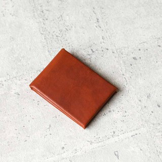 Minimal style veg-tanned leather coin card wallet