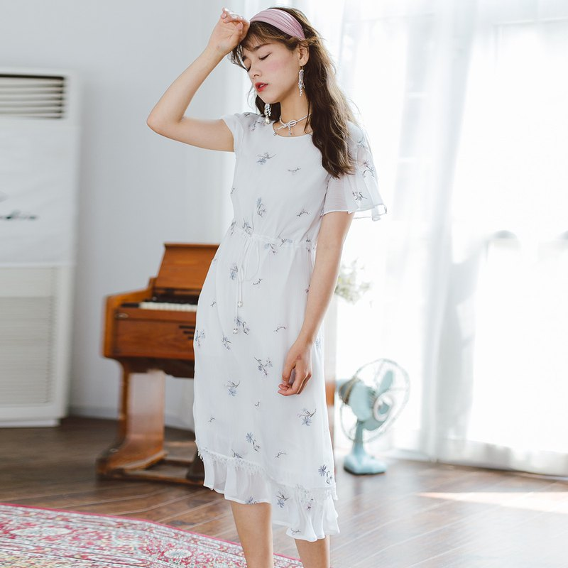 Anne Chen 2018 summer dress waist irregular hem embroidered handmade dress dress YMX8248