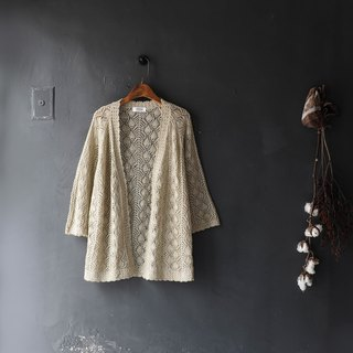 Iwate shallow khaki hollow texture love seven points antique fine knit blouse shirt shirt vintage