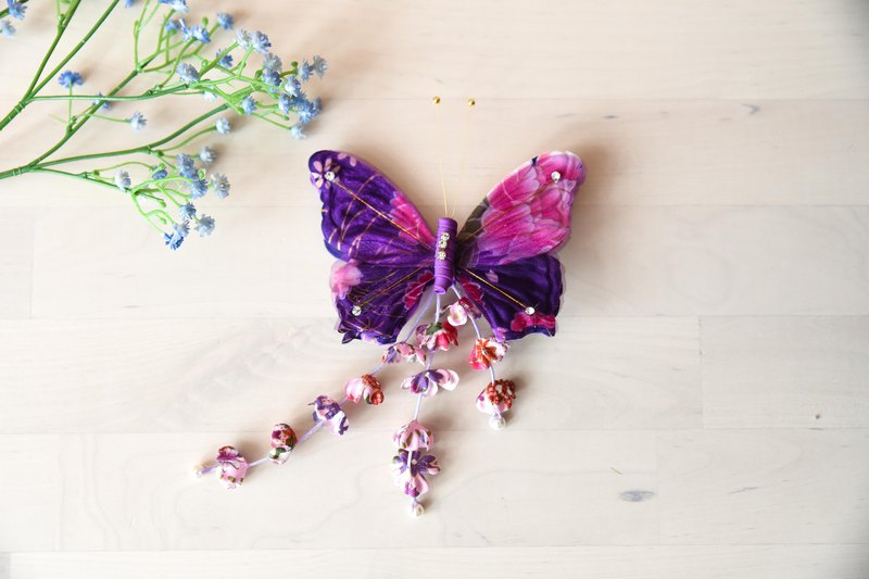 Handmade tassel butterfly hairpin flower purple