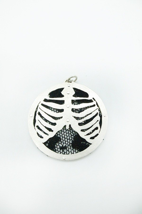 My Skeleton--Sterling Silver Ribcage Pendant with  Lace Safety Pin Necklace(K)