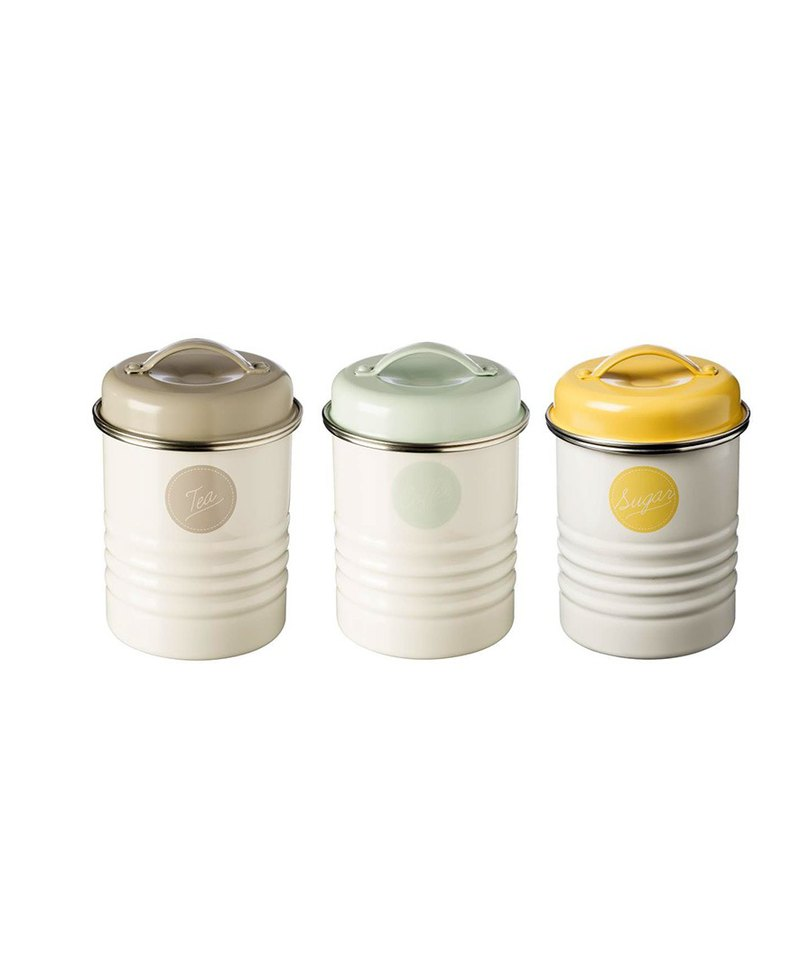 British Rayware industrial wind retro macarons coffee / sugar / tea sealed storage tank group (three into)