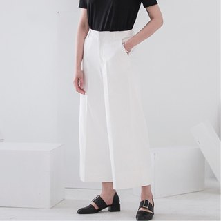 Milk white peerless good pants type spring and summer wide leg pants neatness spring and summer wear single basic unappealing