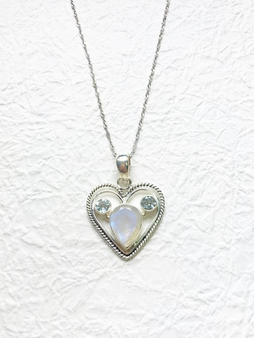 Moonstone Blue Topaz Sterling Silver Mickey heart necklace inlaid hand-made in India