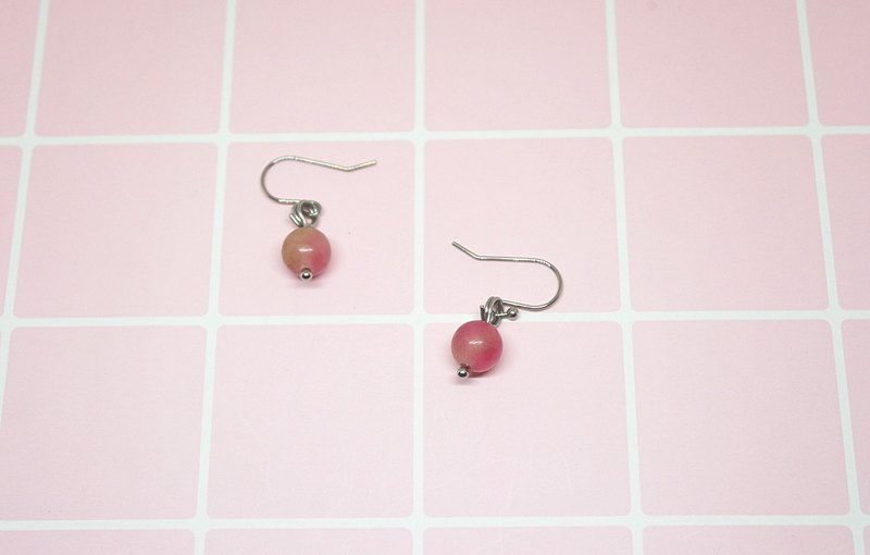 Stainless Steel X Natural Stone Hook Earrings * Pink Sky * # Sweet # # #