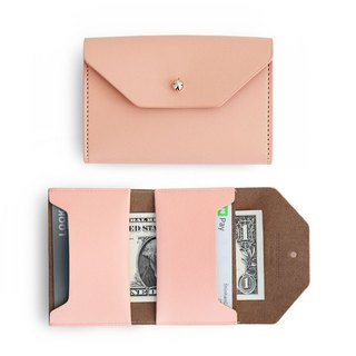 Funnymade adult imitation leather folding business card ticket holder - sweet apricot powder, FNM35109