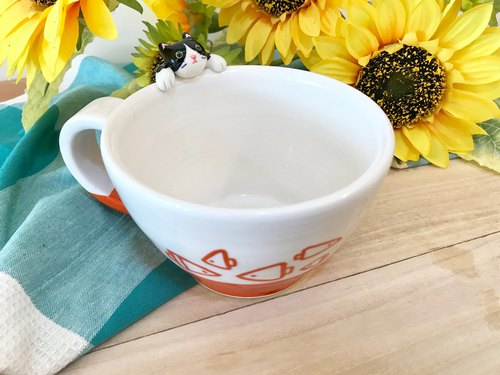 Hand-made glaze under the painted cups edge coffee cup bowl 400c.c