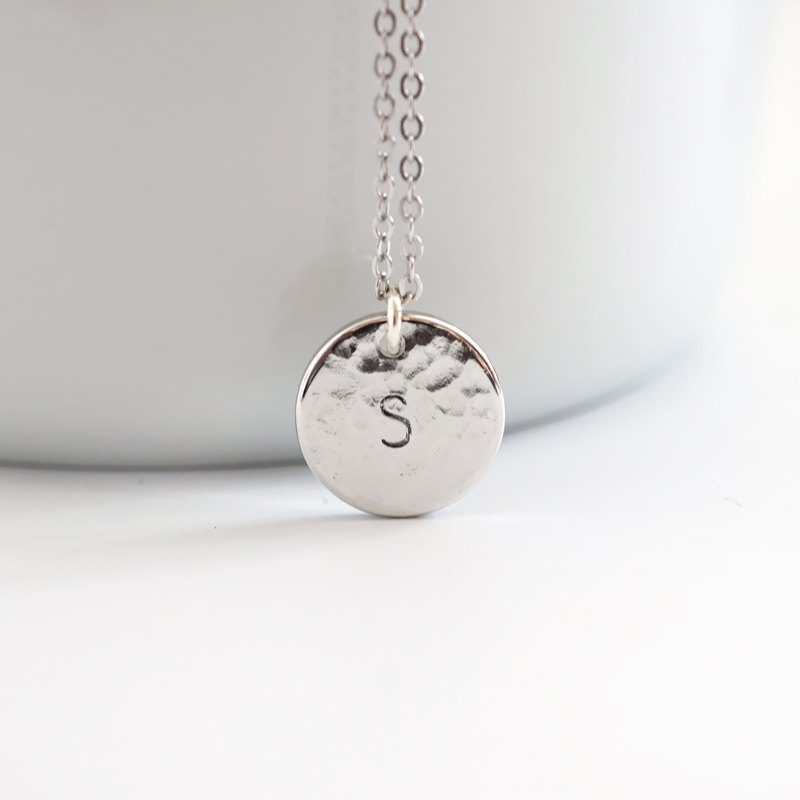 Hammered Initial Plate Necklace - 925 Sterling Silver