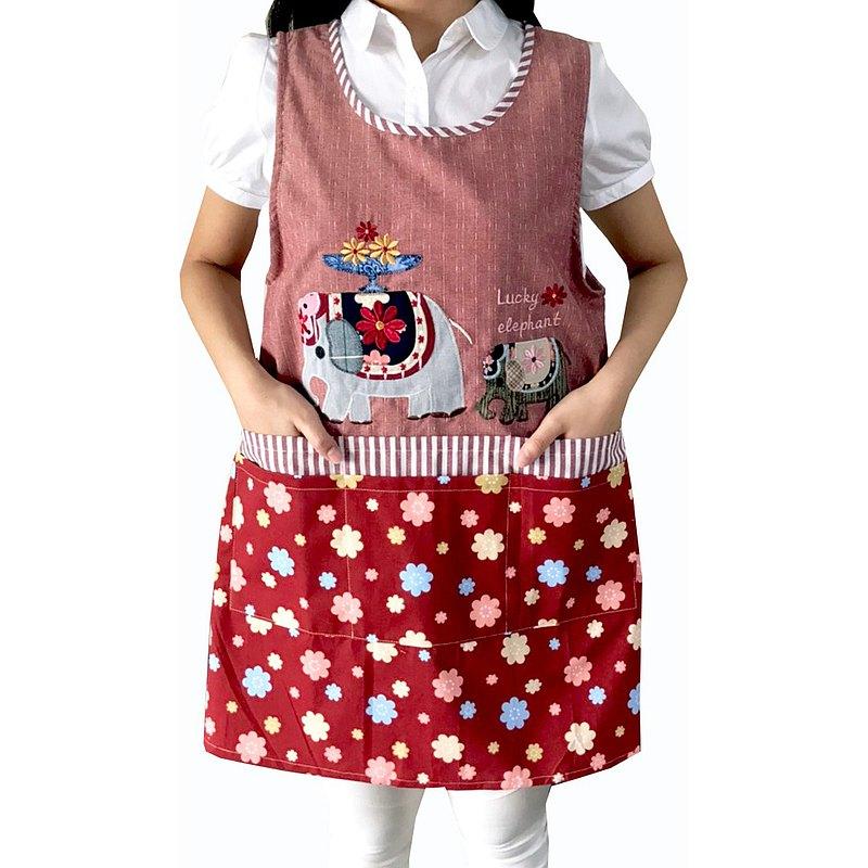 【BEAR BOY】福氣象6口袋圍裙-紅(後綁)