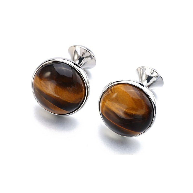 Kings Collection Silver Plating Round Tiger-eye Stone Cufflinks KC10053 Brown