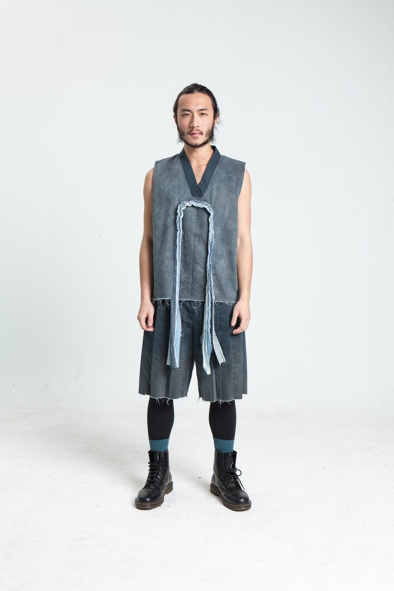Alan Hu 2017 S/S and collar cloth tassel vest