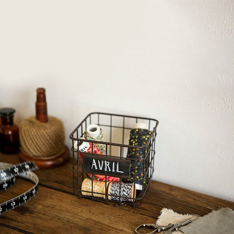 Dailylike Nordic grid small iron basket - iron ash, E2D86564
