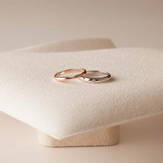 Elegant curved silver ring - Silver / Rose Gold / 18K gold