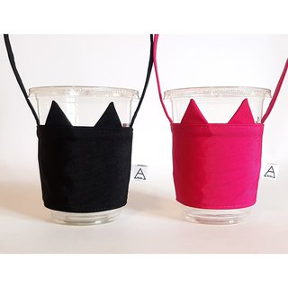 Ariel's wonderland / green drink cup bag / black + pink / lovers cat group