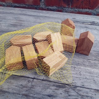 【Original wood】 stacked small house building blocks (1 bag 15)