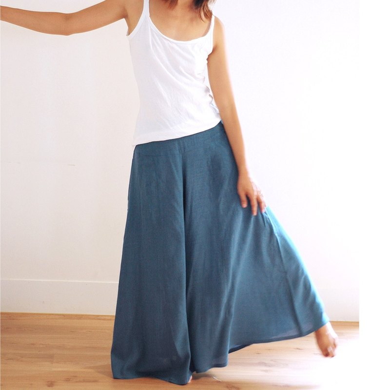 Handmade cotton and linen wide leg pants - blue