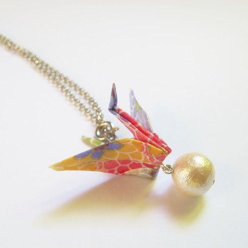 Origami Crane Cotton Pearl Long Necklace