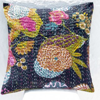 Flower embroidery hug pillowcase cotton pillowcase national wind hug pillowcase - French style fashion black flower forest