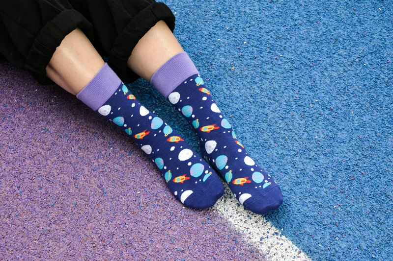 Space Planet 3/4 Socks
