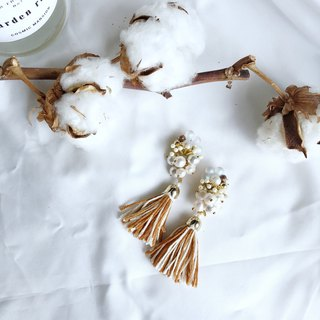 Beaded brown tassel earrings