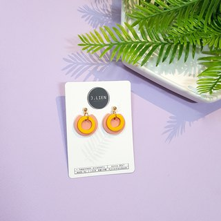 Circle ring circle series - concentric circle (ham omelet) ear needle / ear clip handmade earrings Korea direct